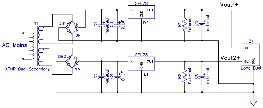 Dual Positive Superpower Supply schematic